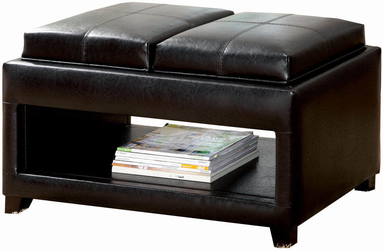Aaden Brown Ottoman With Tray Tops Cb Furniture