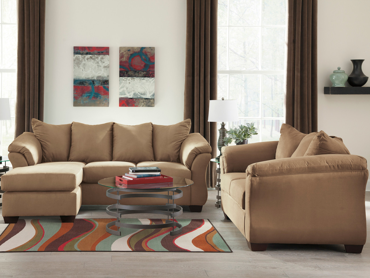 Stupendous Edeline Mocha Sofa Chaise Loveseat Squirreltailoven Fun Painted Chair Ideas Images Squirreltailovenorg