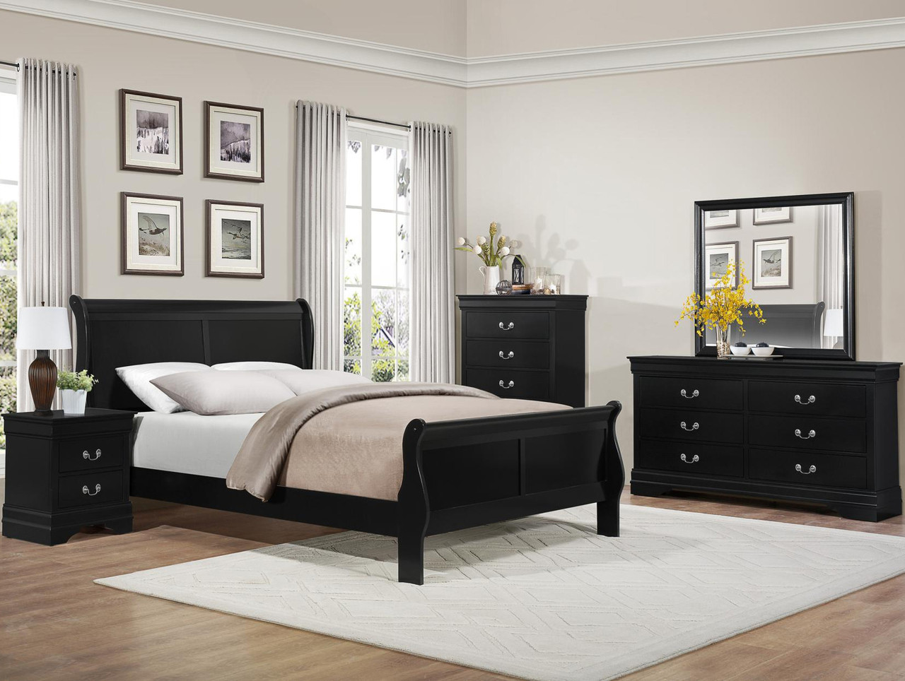 Jed Black Sleigh Bedroom Set