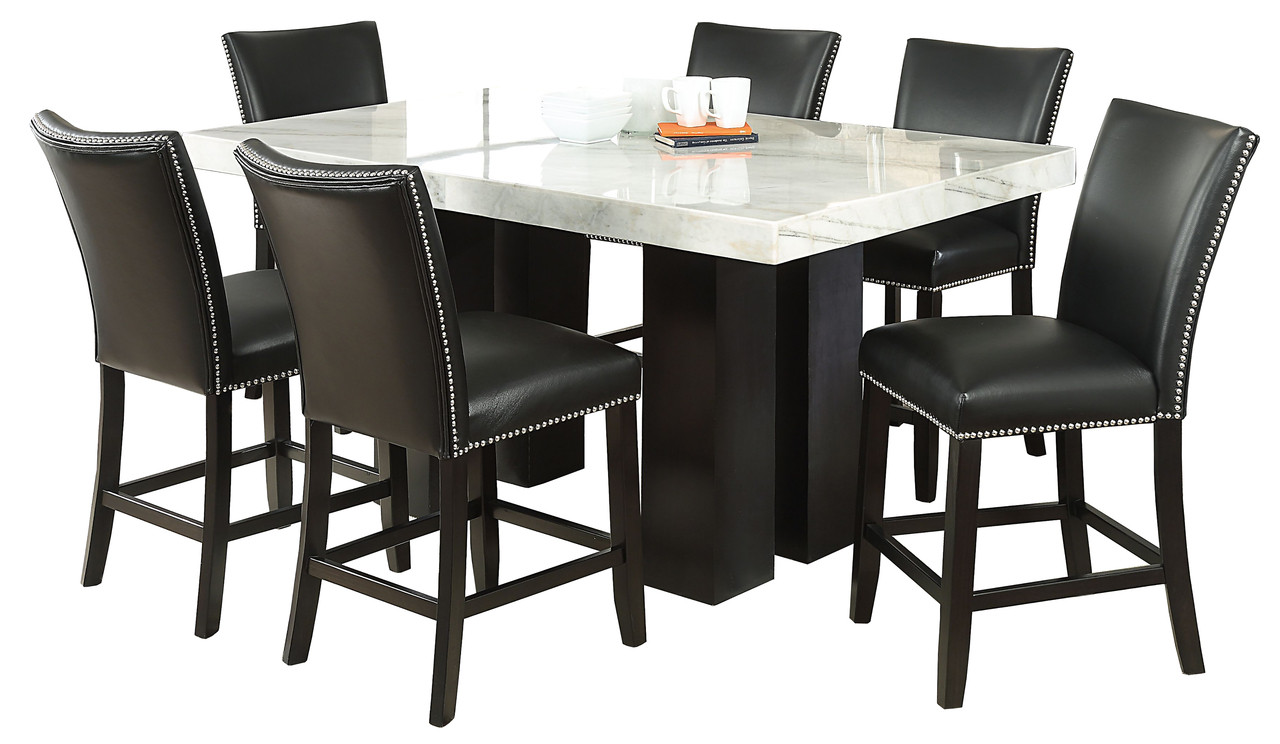 Nubia Black 7 Piece Counter Height Set Cb Furniture