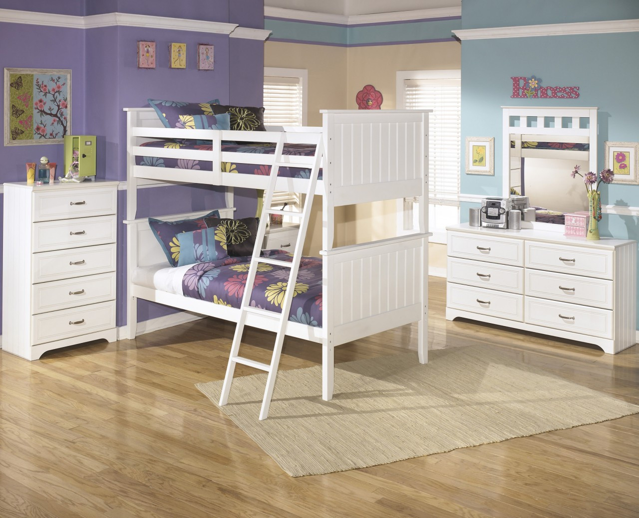 Elli White Bunk Bed Bedroom Set Cb Furniture
