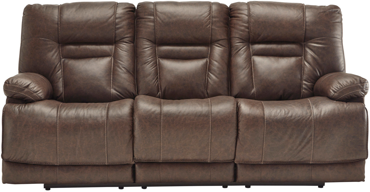 Picture of: Wesley Top Grain Leather Reclining Sofa With Adjustable Lumbar And Headrests Cb Furniture
