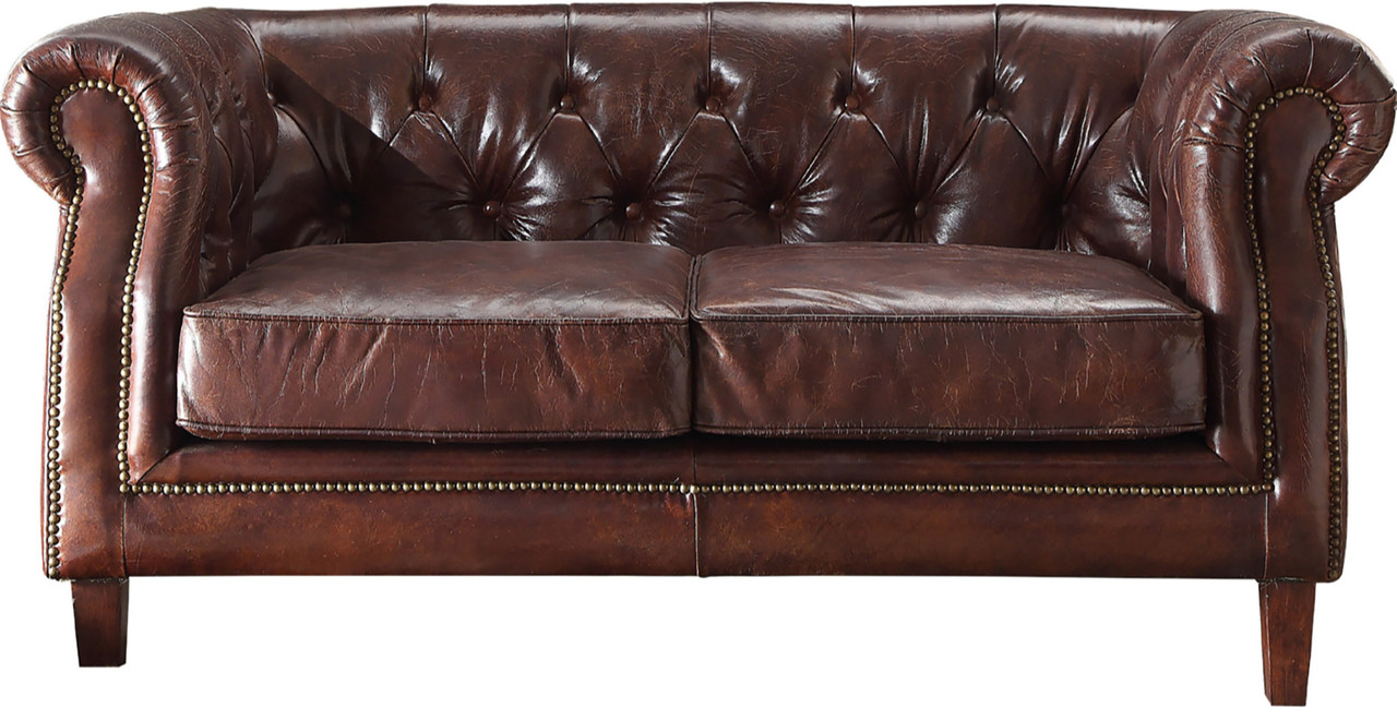 Ismael Vintage Dark Brown Top Grain Loveseat Cb Furniture