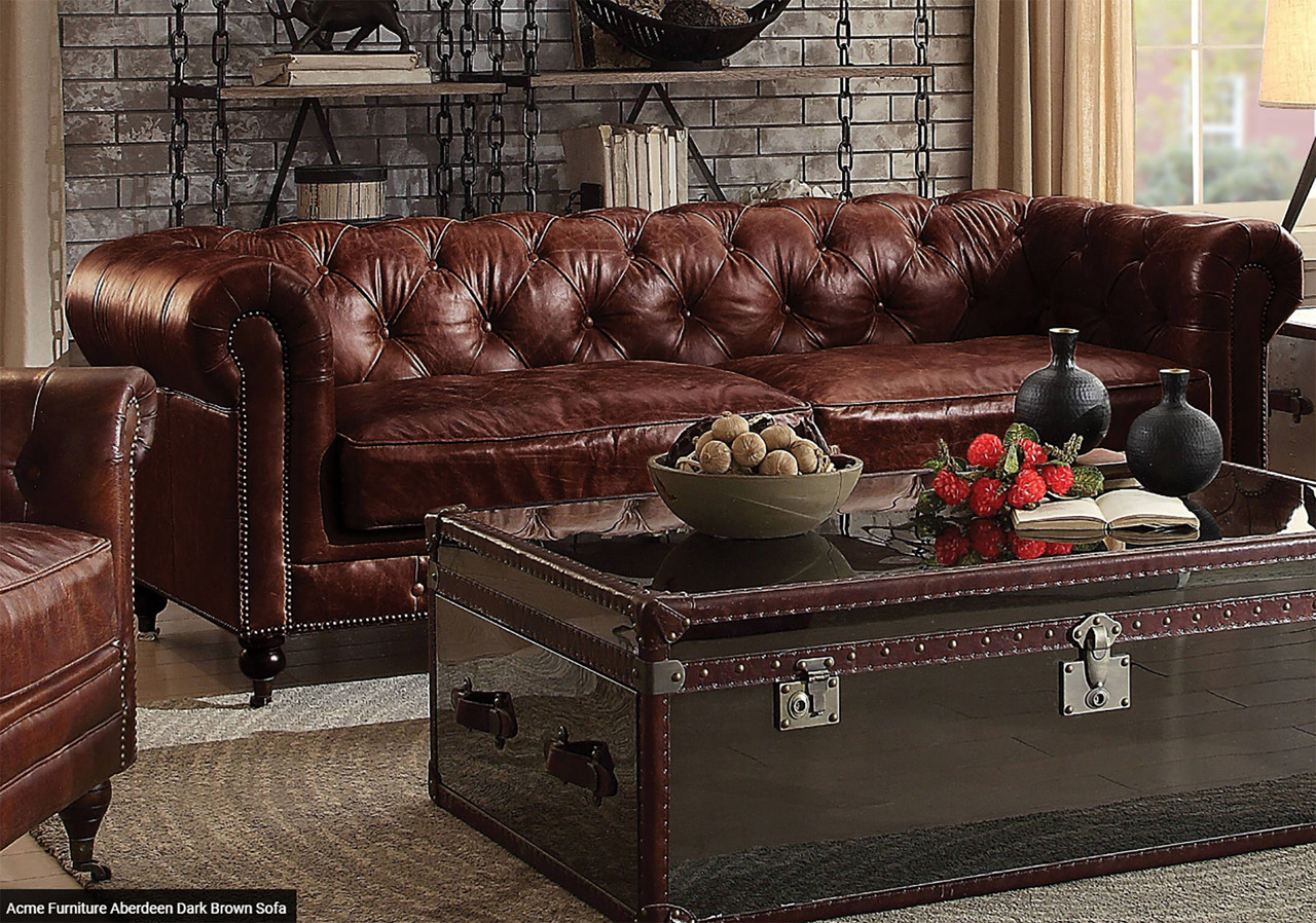 Ismael Vintage Dark Brown Top Grain Sofa Loveseat Cb Furniture