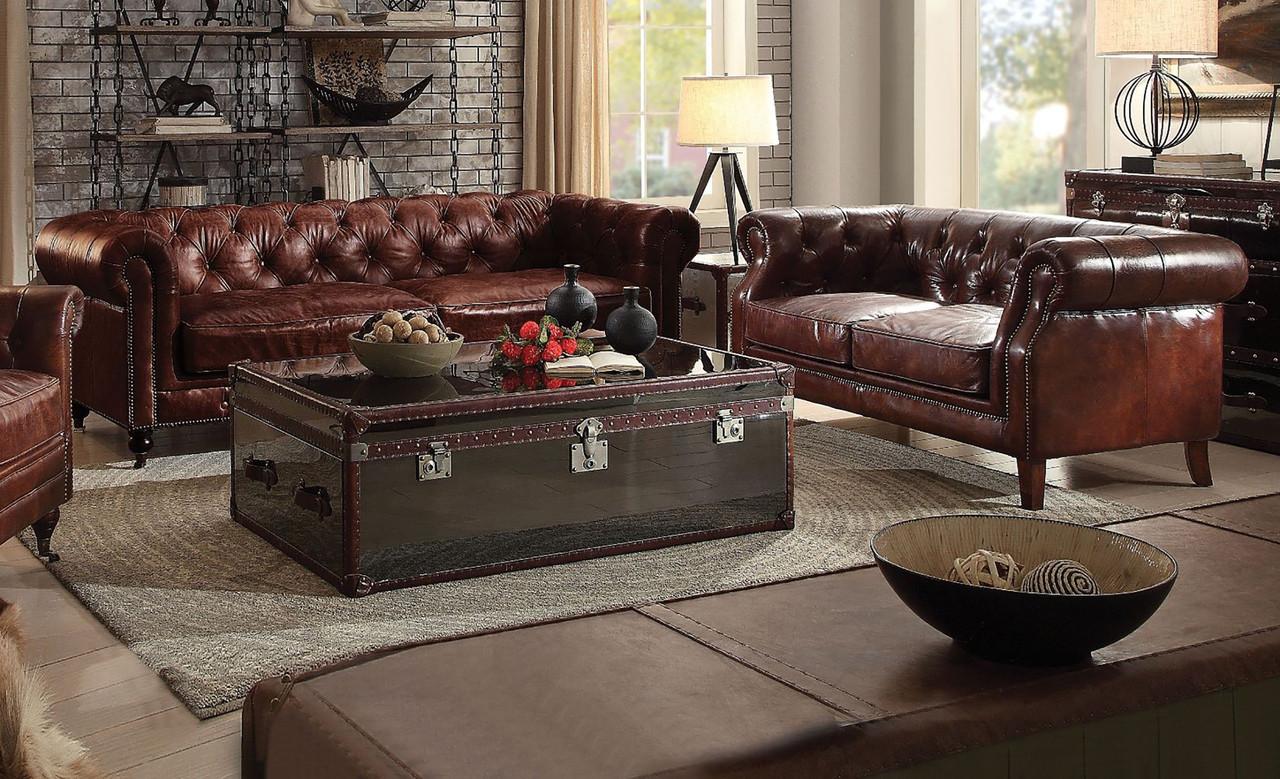 Surprising Ismael Vintage Dark Brown Top Grain Sofa Loveseat Bralicious Painted Fabric Chair Ideas Braliciousco