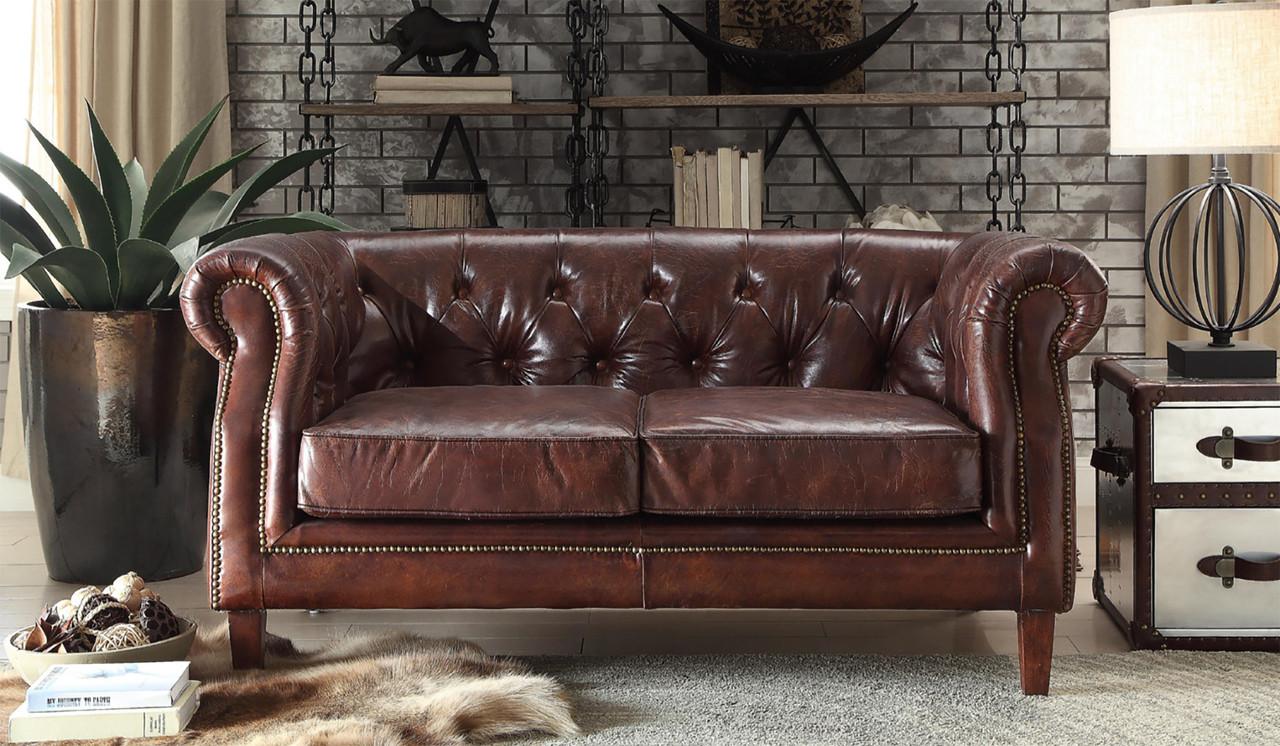 Ismael Vintage Dark Brown Top Grain Sofa & Loveseat