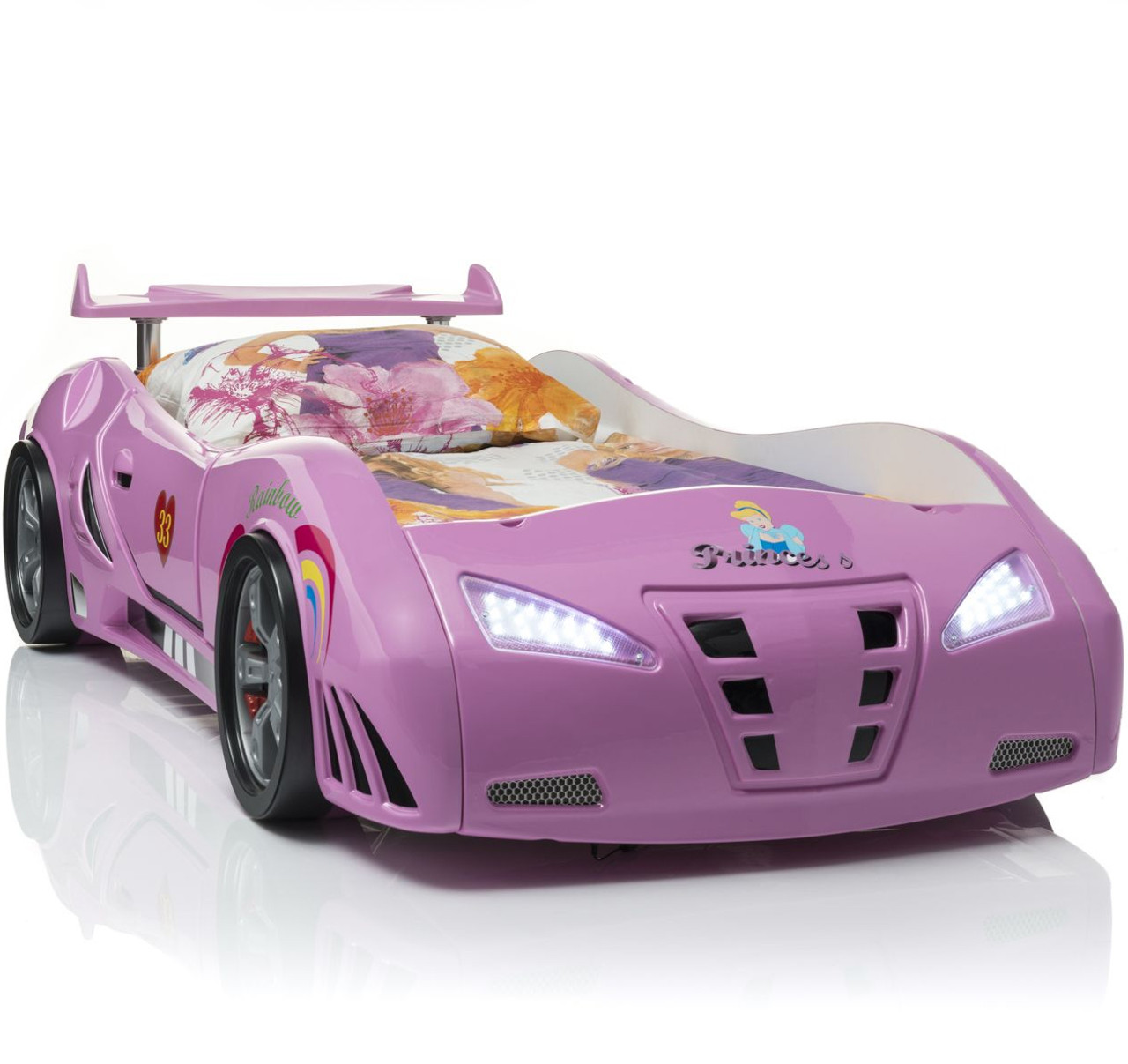 Picture of: Coupe Pink Lighted Race Car Bed Cb Furniture
