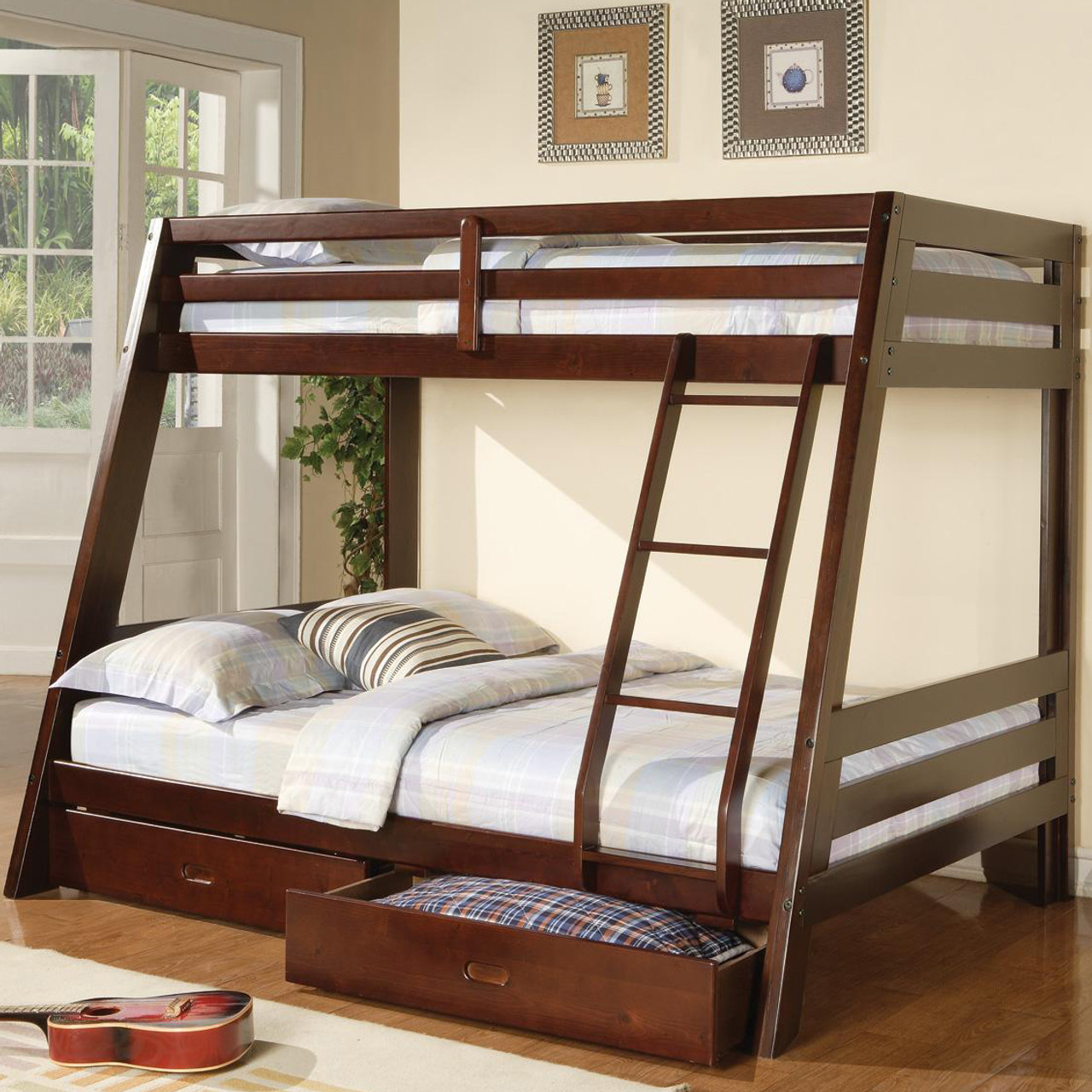 George Cappuccino Twin over Full Bunk Bed with Drawers