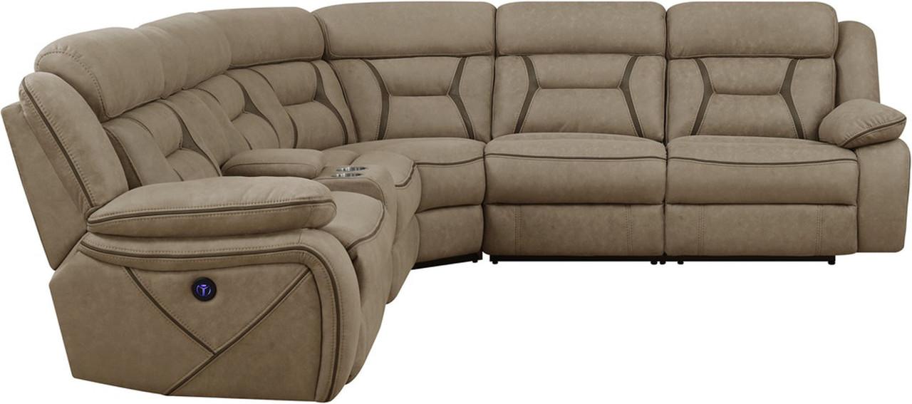 Amazing Sedona Light Brown Power Sectional With Usb Ports Machost Co Dining Chair Design Ideas Machostcouk