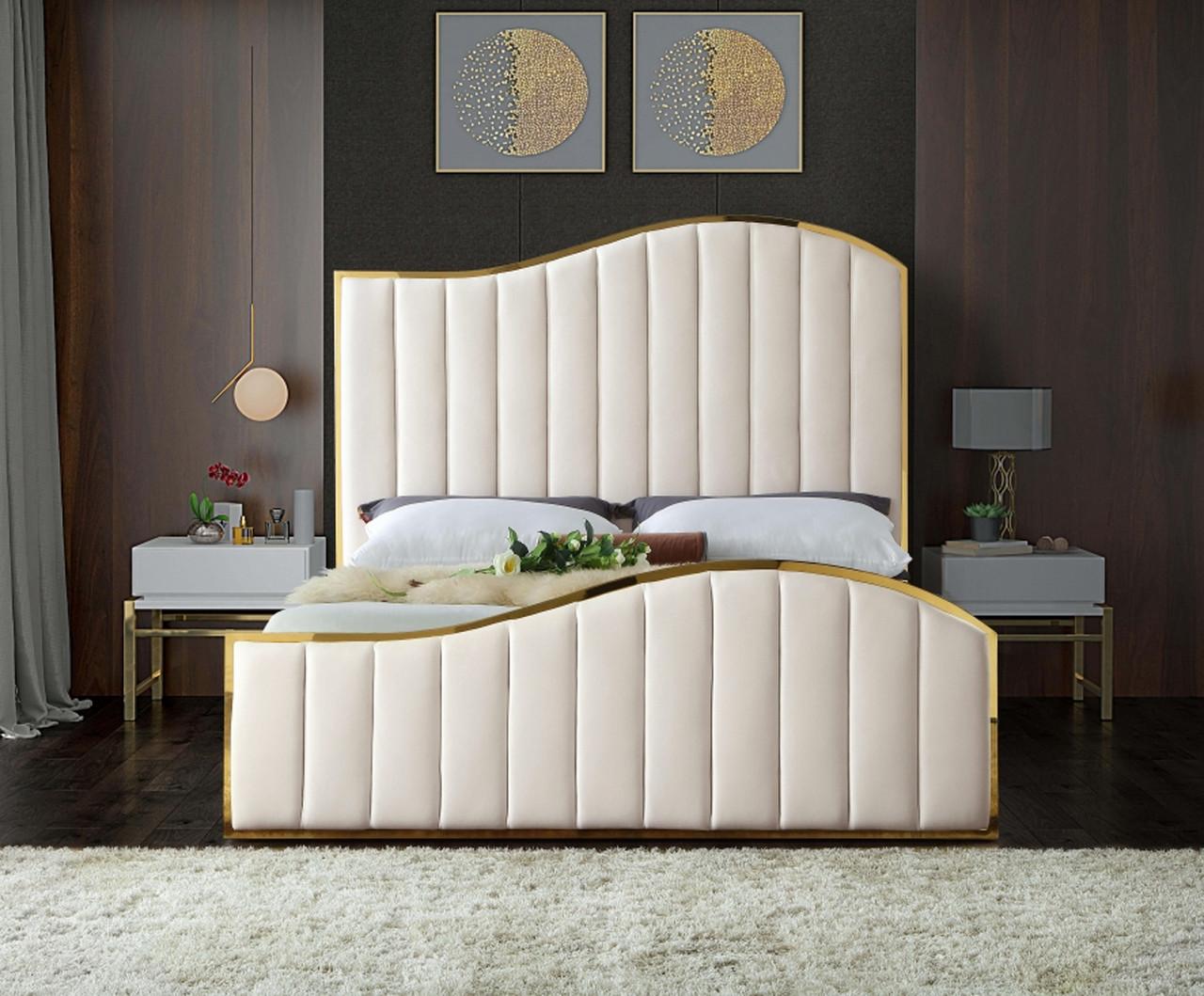 Athena Cream Gold Velvet Bed Cb Furniture