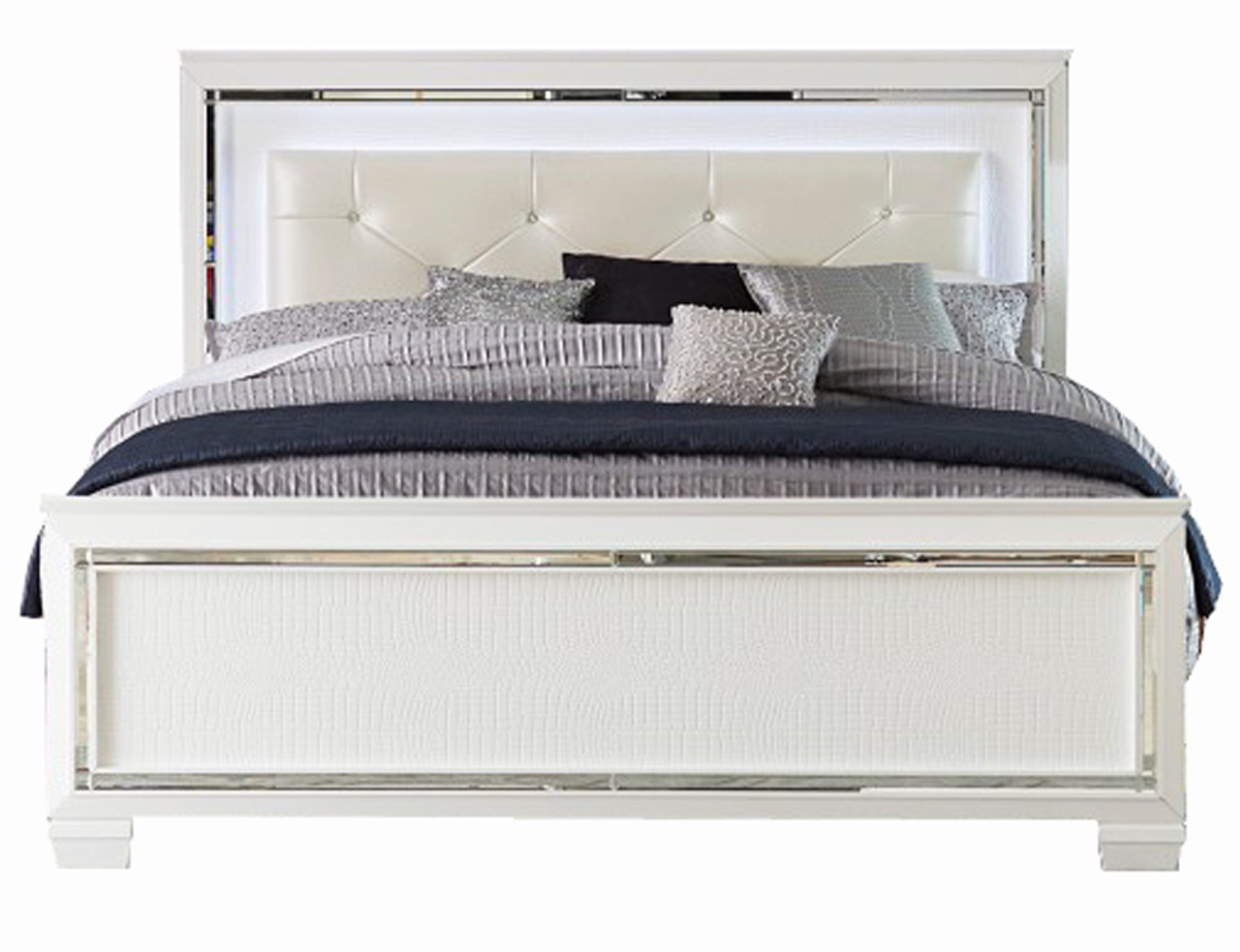 Annie White Led Lighted Bedroom Set Cb Furniture