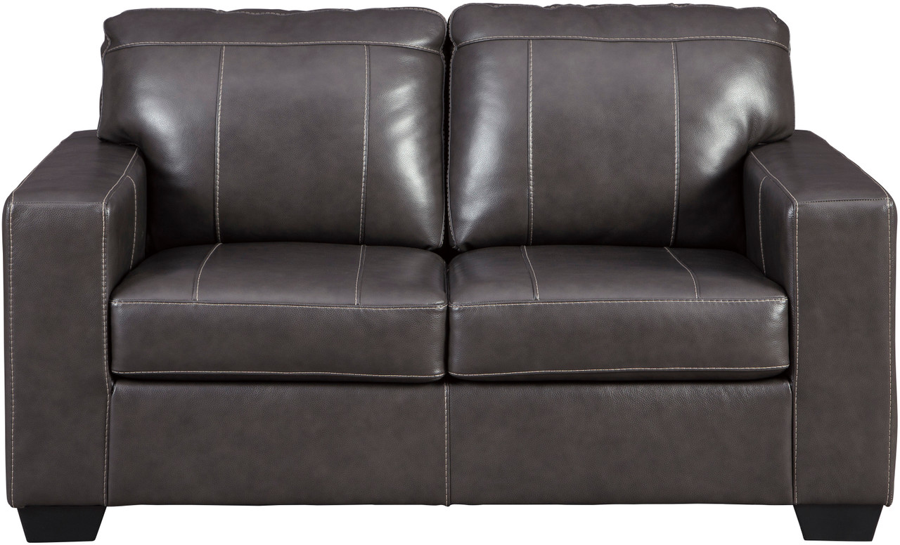 Picture of: Ruiz Gray 62 Wide 100 Leather Loveseat Cb Furniture