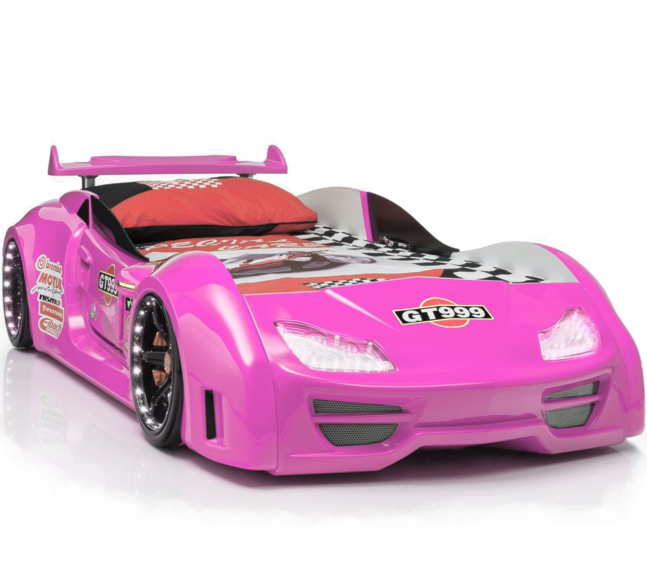 Picture of: Gt999 Pink Lighted Race Car Bed Cb Furniture