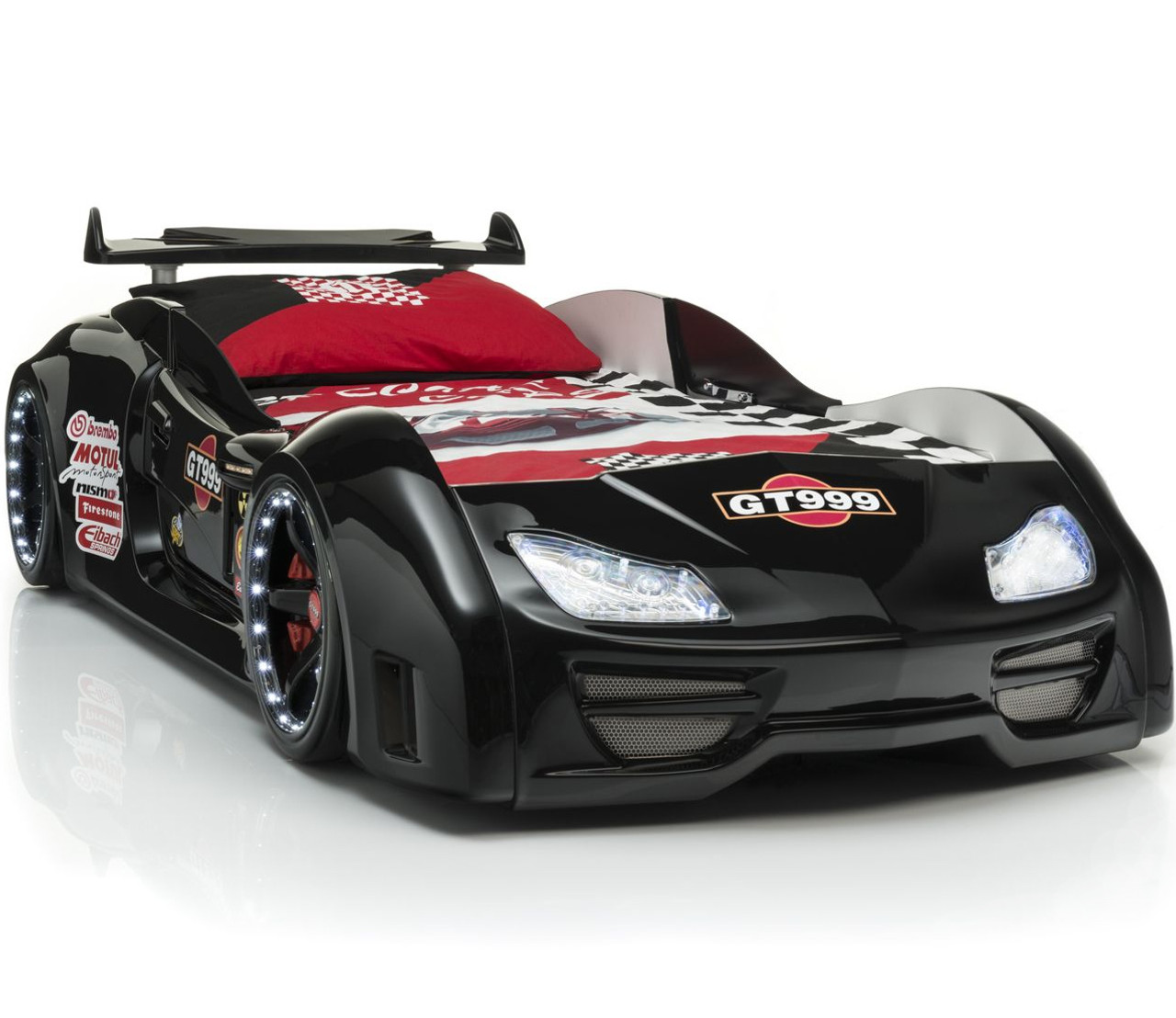 Picture of: Gt999 Black Lighted Race Car Bed Cb Furniture