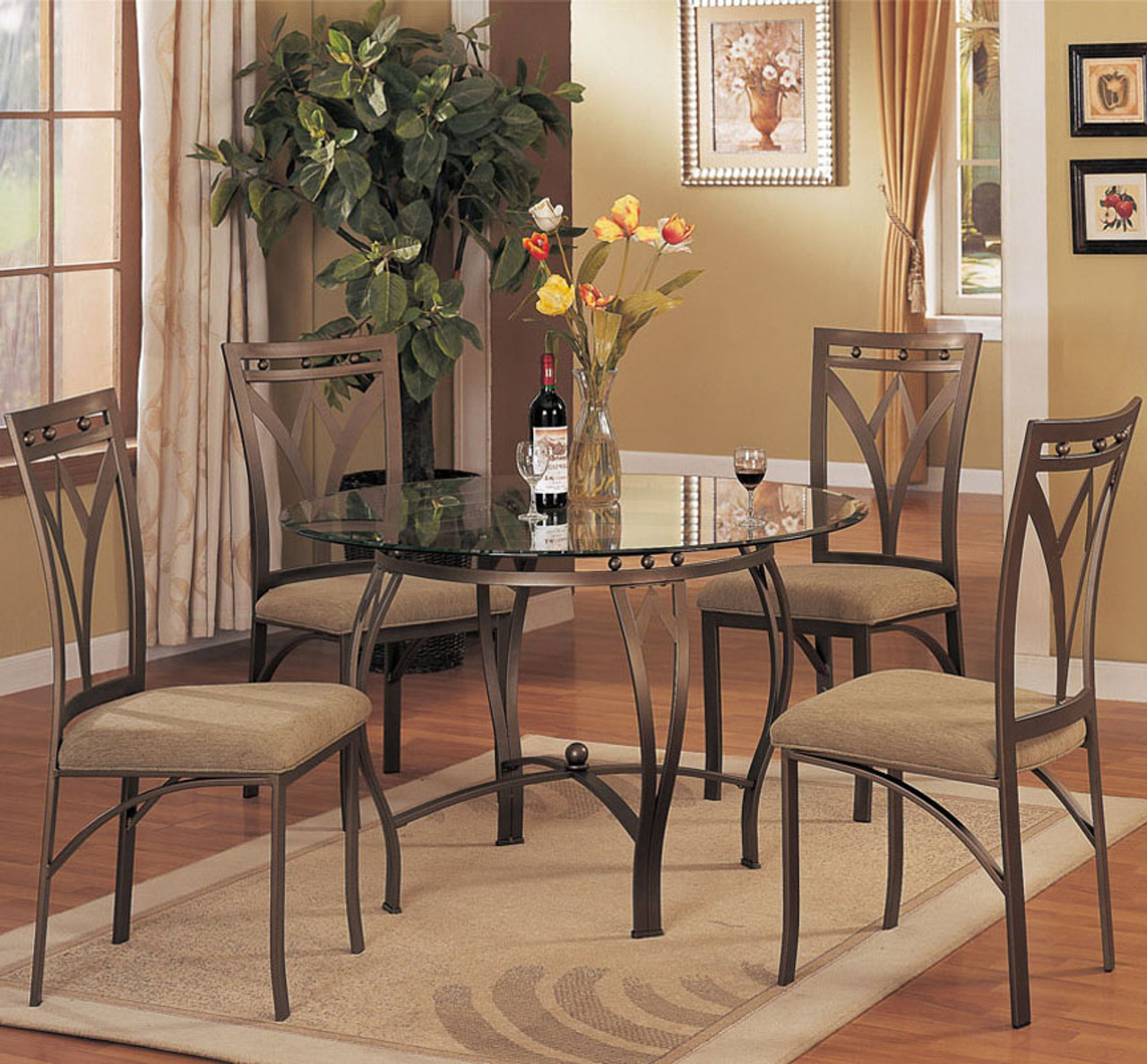 Monarch Antique Gold 5 PC Dining Set