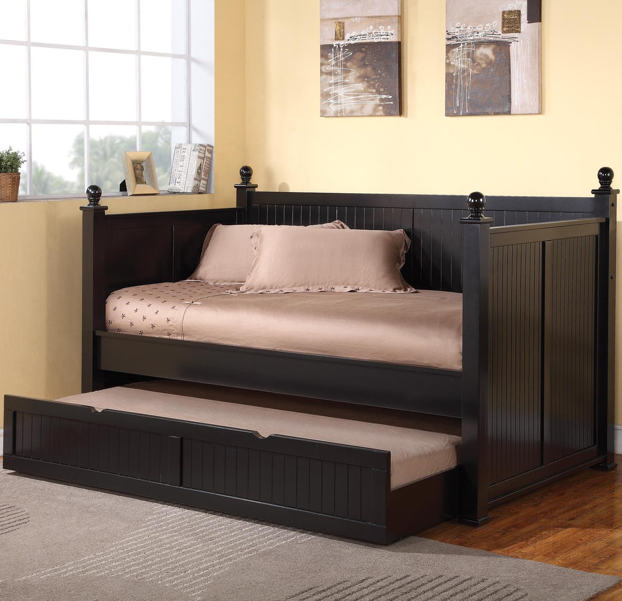 - Cottage Hill Black Day Bed W/Trundle - CB Furniture
