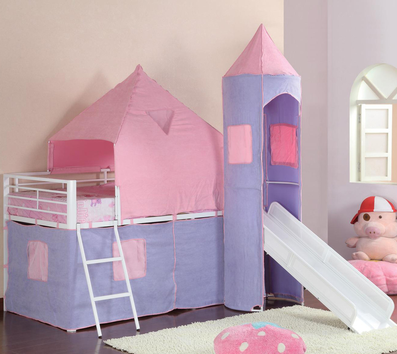 Picture of: Jasmine Pink Purple Castle Twin Loft Bed With Slide Cb Furniture