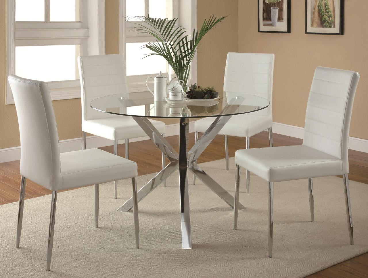 Groovy Leah 5 Pc Dining Set White Leather Chairs Pdpeps Interior Chair Design Pdpepsorg
