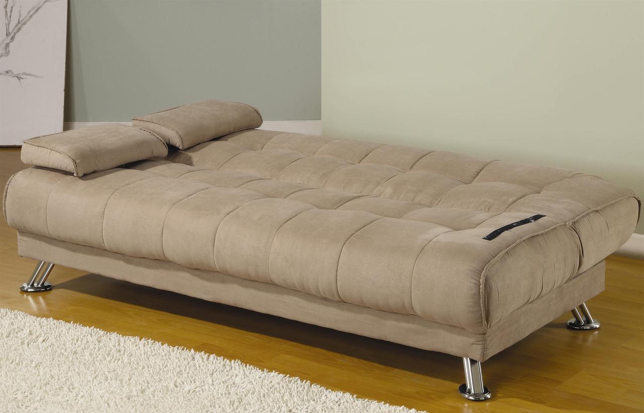 Picture of: Colton Tan Microfiber Sofa Bed Cb Furniture