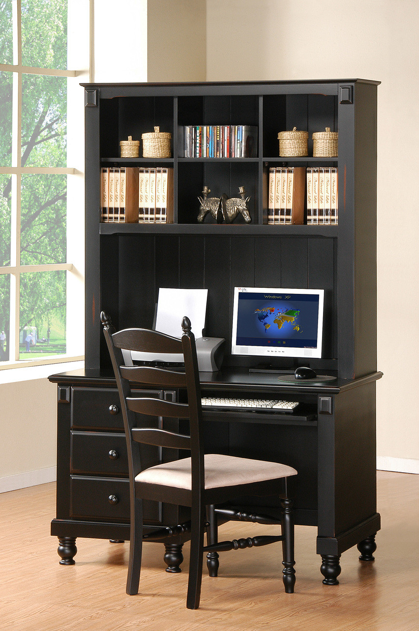 Miles 46 Wide Black Solid Wood Desk And Hutch Cb Furniture