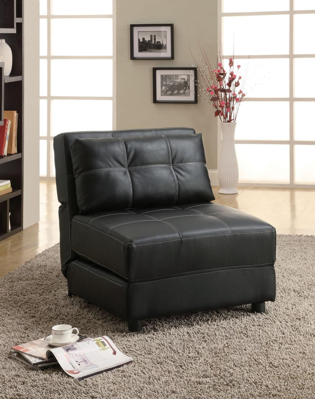 Admirable Franklin Black Leather Accent Chair Bed Lounger Machost Co Dining Chair Design Ideas Machostcouk