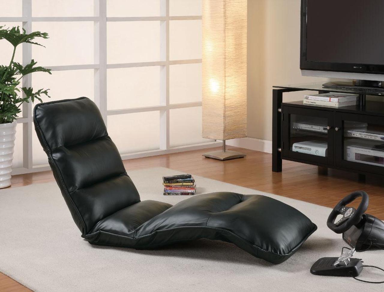 Marvelous Jerrel Black Leather Lounge Chair Padded Seat Short Links Chair Design For Home Short Linksinfo