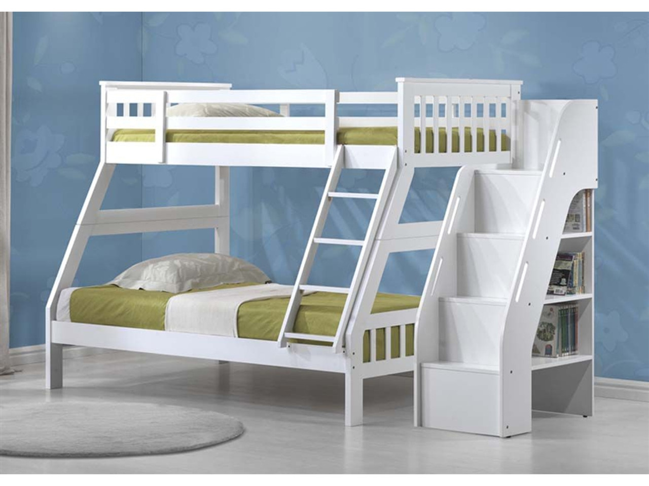 Lyndsie White Twin Full Bunkbed With Side Ladder Bookcase Ladder