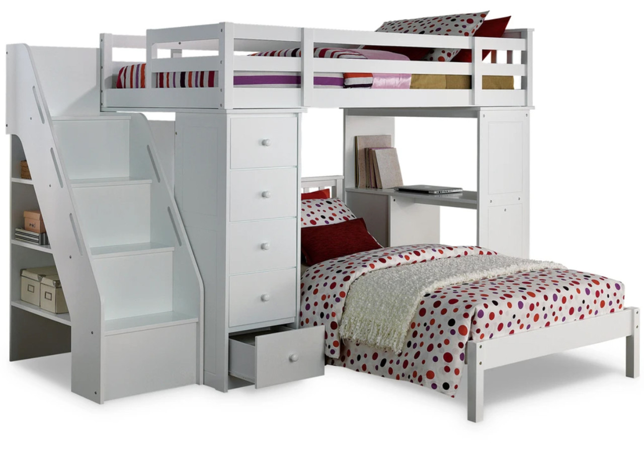 Libby White Loft Bed With Twin Bed Cb Furniture