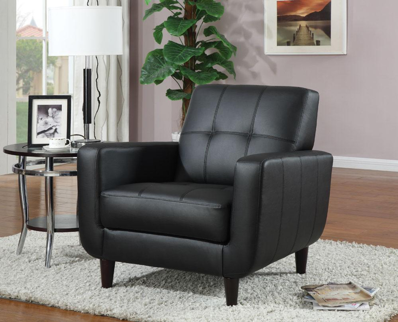 Pleasant Lawton Black Leather Accent Chair Ocoug Best Dining Table And Chair Ideas Images Ocougorg