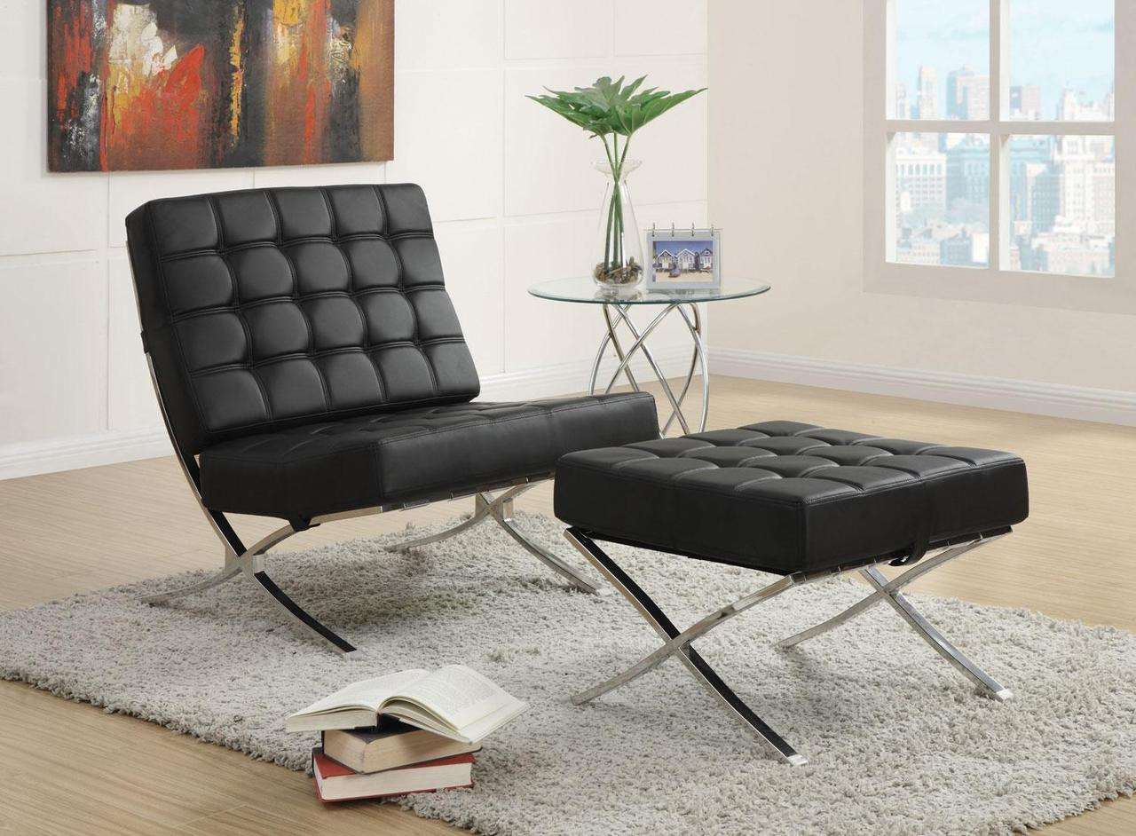Groovy Jacksen Black Leather Accent Chair And Ottoman Ocoug Best Dining Table And Chair Ideas Images Ocougorg