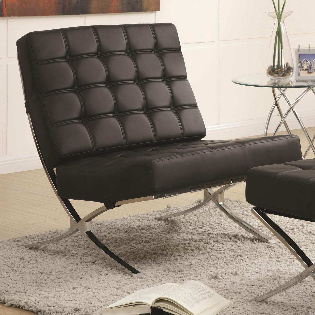 Stupendous Jacksen Black Leather Accent Chair And Ottoman Ocoug Best Dining Table And Chair Ideas Images Ocougorg