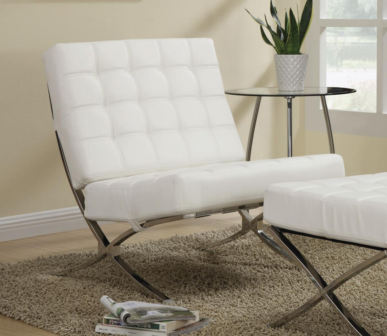 Stupendous Jacksen White Leather Accent Chair And Ottoman Ibusinesslaw Wood Chair Design Ideas Ibusinesslaworg