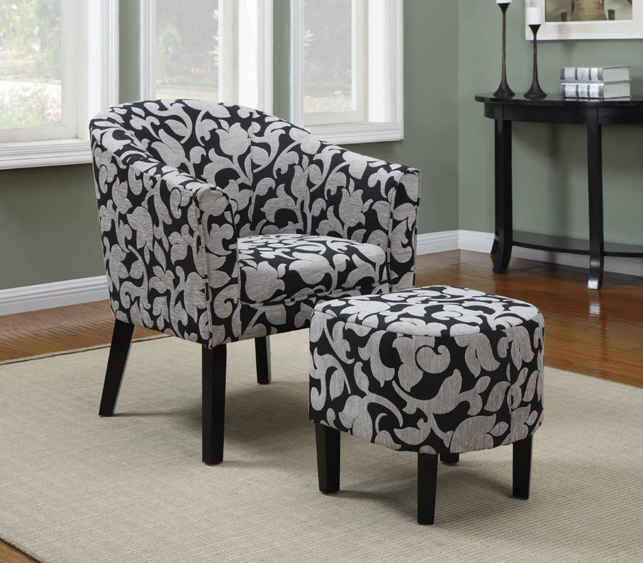 Picture of: Cambria Charcoal Floral Arm Chair With Ottoman Woven Fabric Cb Furniture