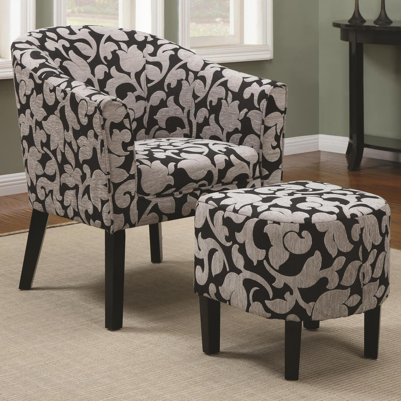 Cambria Charcoal Floral Arm Chair With Ottoman Woven Fabric Cb Furniture