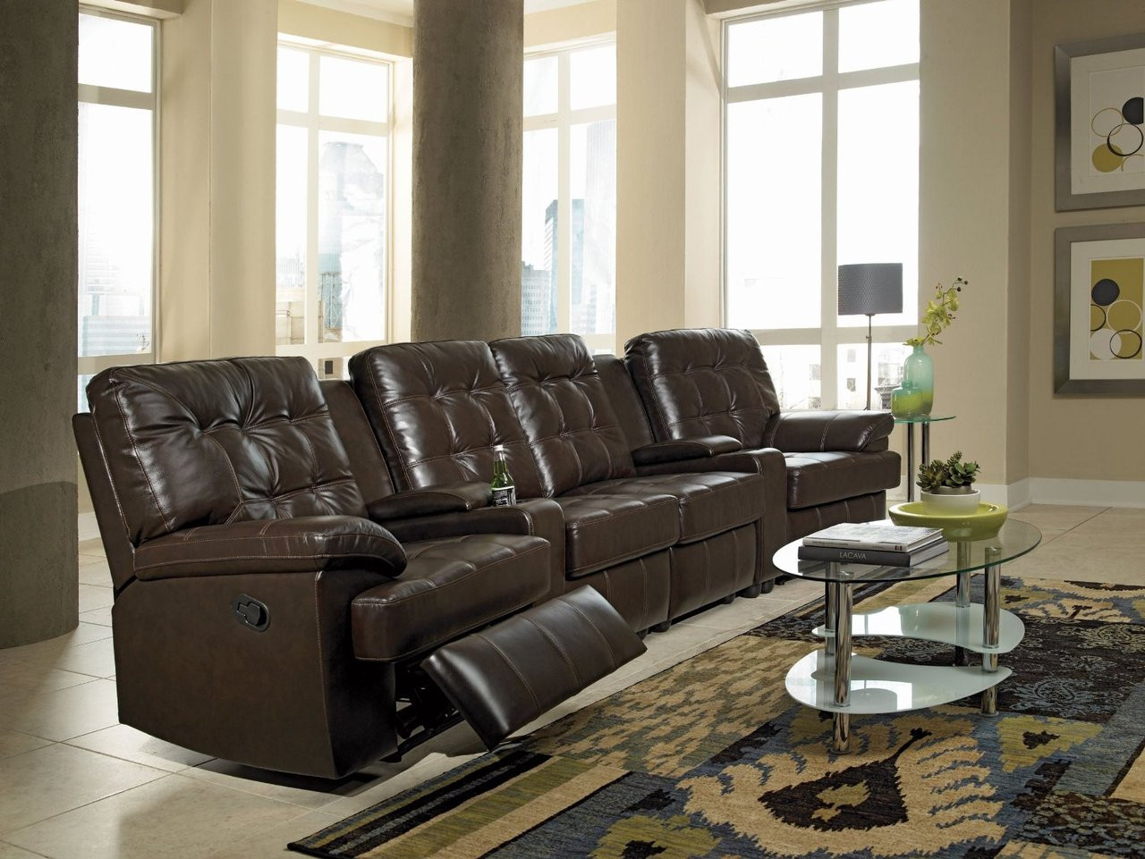 Kolten Chocolate Leather 6-PC Theater Seats - CB Furniture