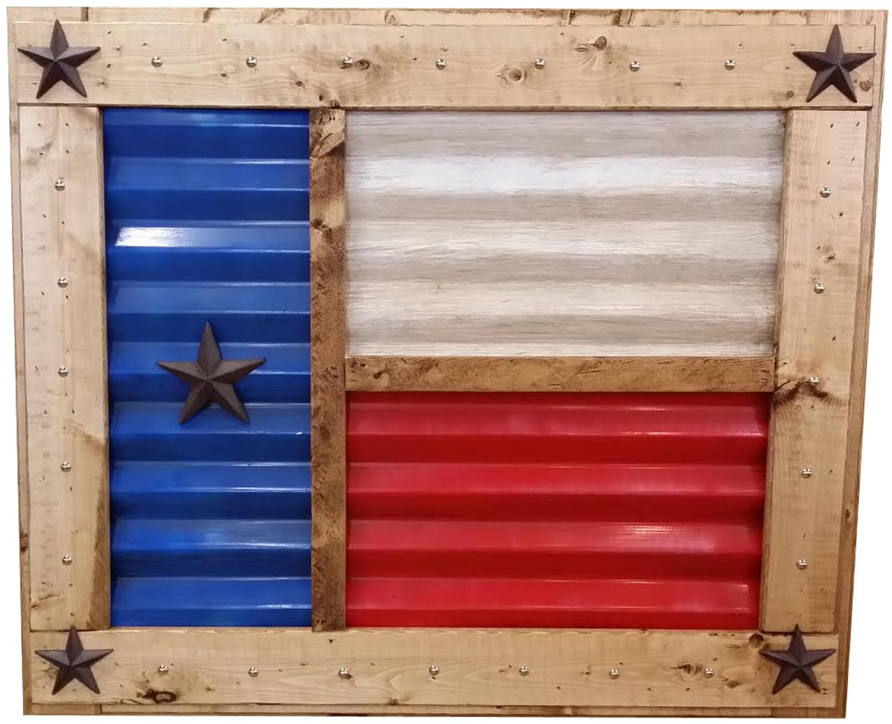 Texas Flag Rustic Tin Framed Wall Decor