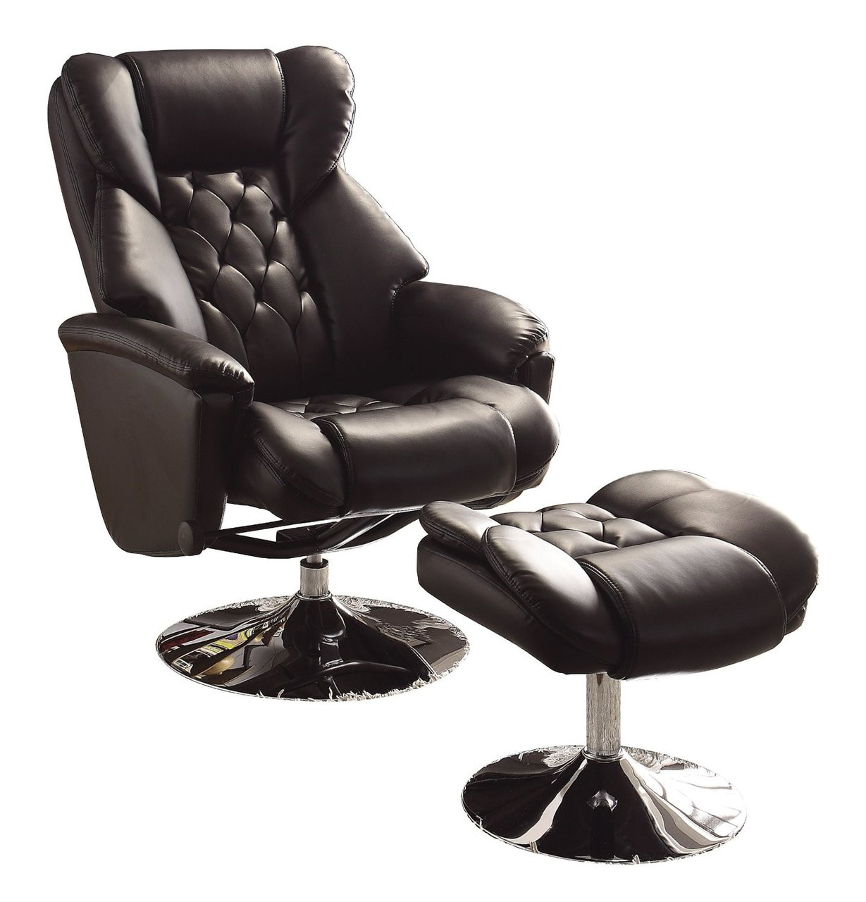 Magnificent Basel Black Leather Swivel Reclining Chair W Ottoman Ncnpc Chair Design For Home Ncnpcorg