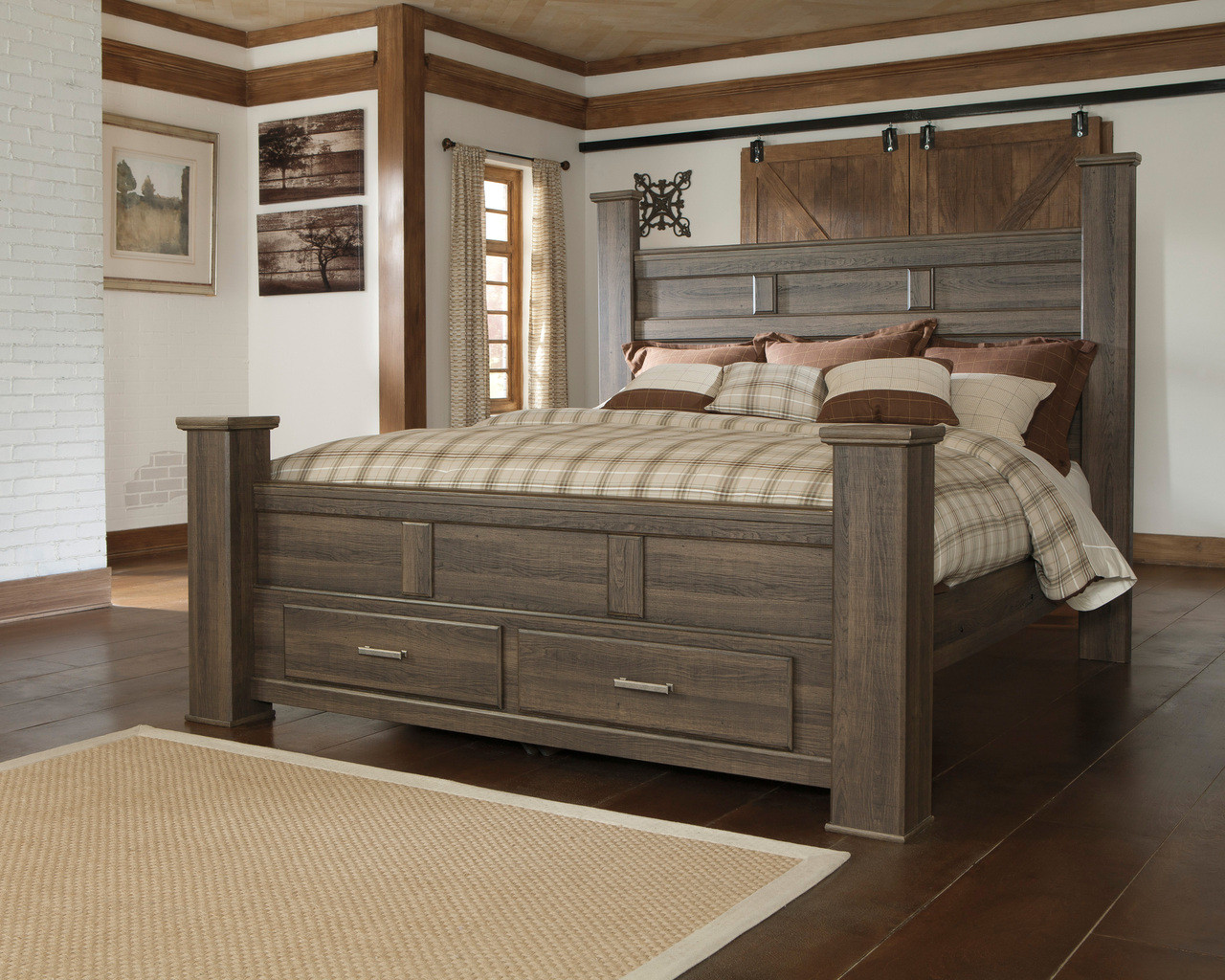Hacienda Aged Poster Bedroom Set With Storage Drawers Cb Furniture