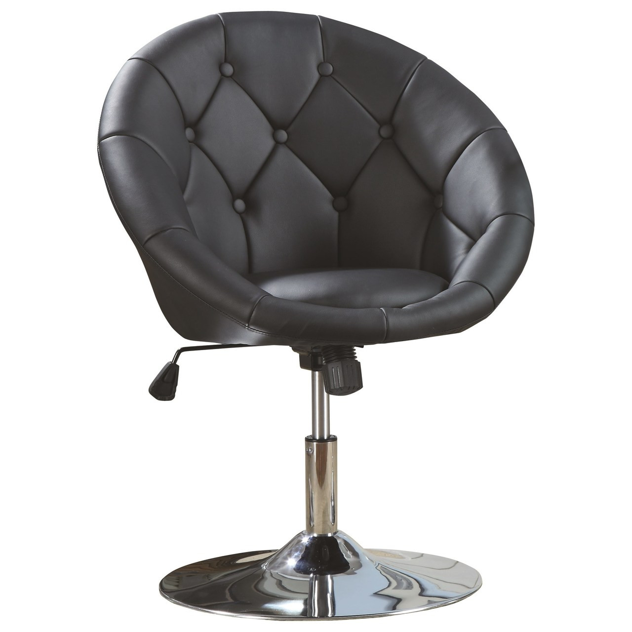 Awesome Bowl Black Leather Swivel Chair Squirreltailoven Fun Painted Chair Ideas Images Squirreltailovenorg