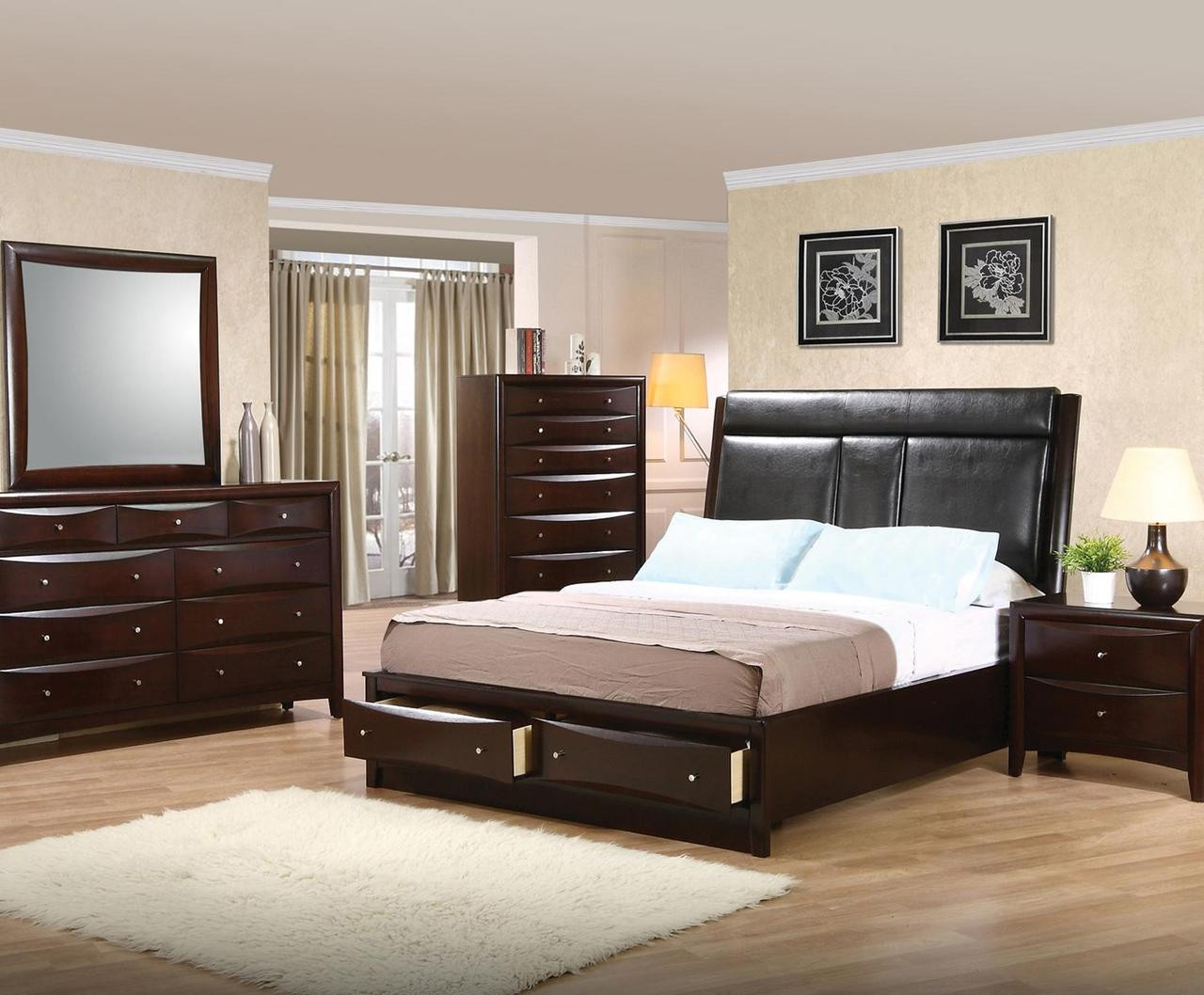 . Fey Cappuccino Platform Bed with Console 6 PC Bedroom Set