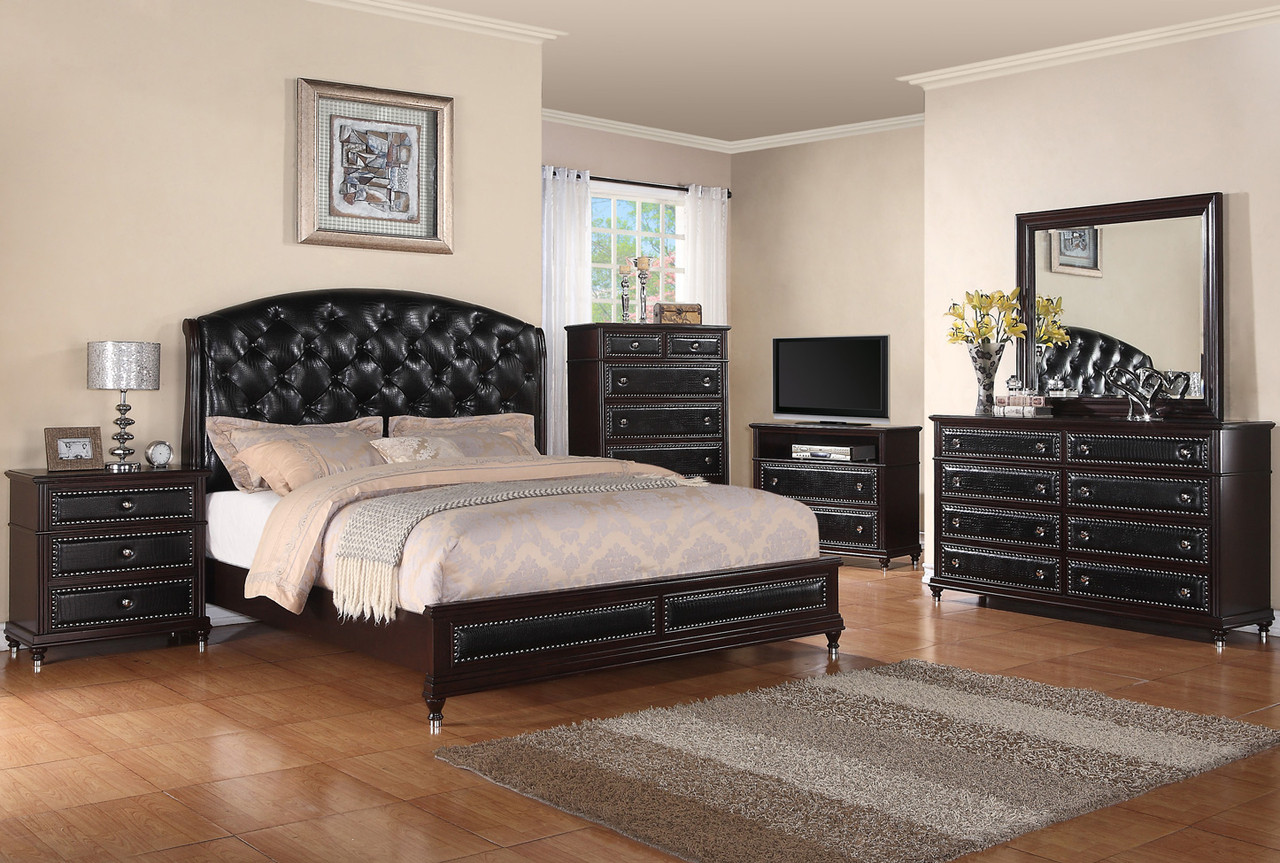 Medina Black Queen Low Profile Bedroom Set Cb Furniture