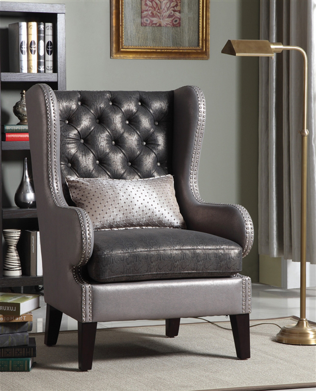 Leandra Gray Accent Arm Chair With Nailheads Cb Furniture