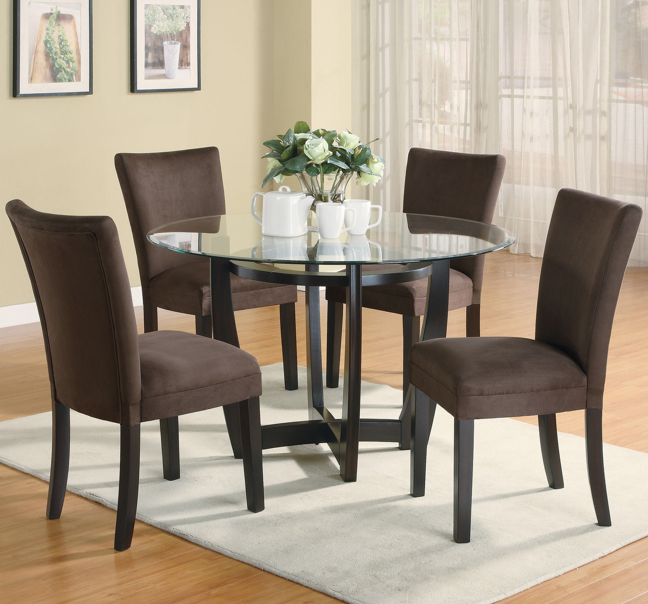 Continental Chocolate 5 Piece Round Glass Dining Set