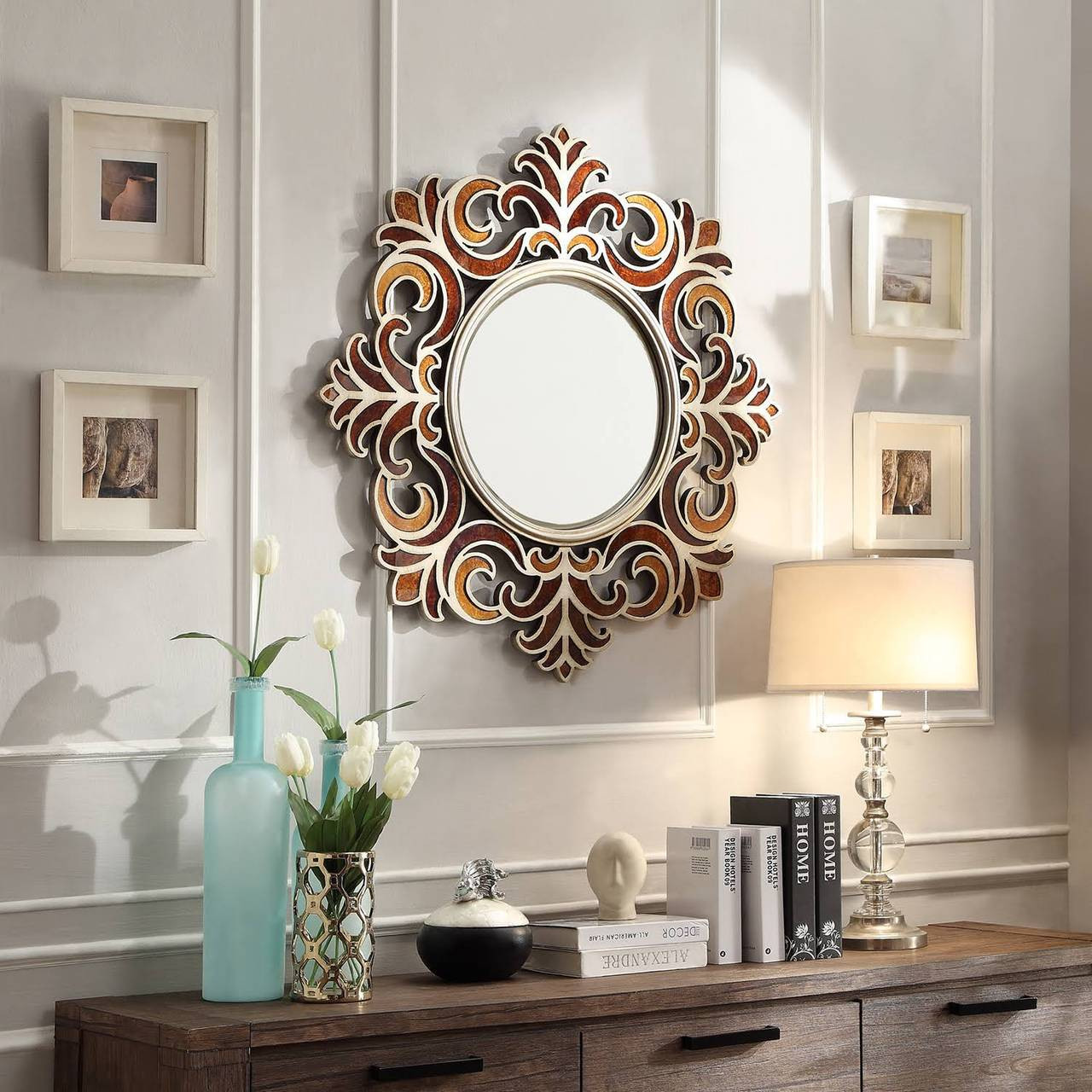 Fleurs Round Accent Wall Mirror Cb Furniture
