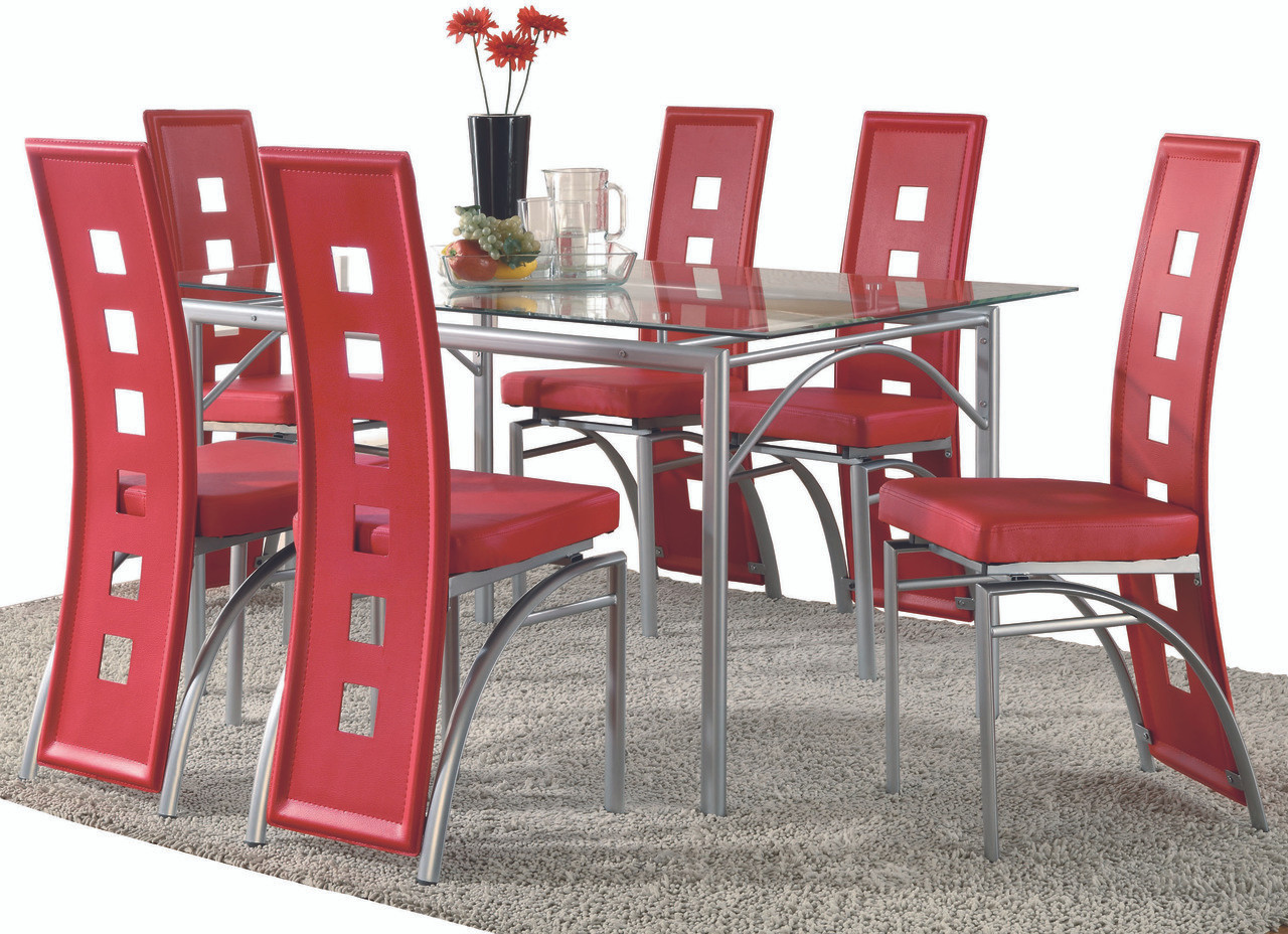 Rochelle Red 9 Piece Dining Set