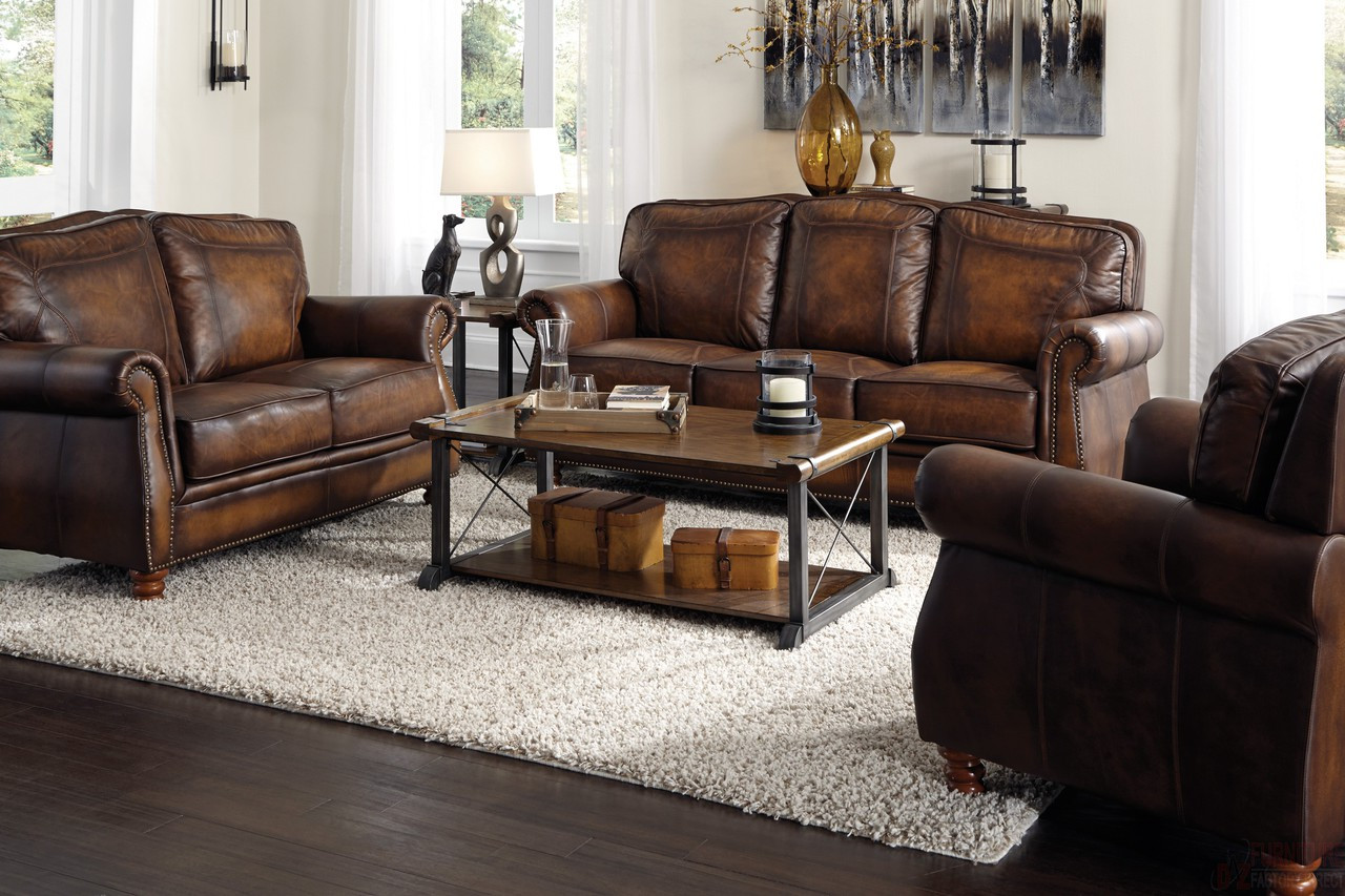 Bon Payton Top Grain Leather Sofa And Loveseat ...