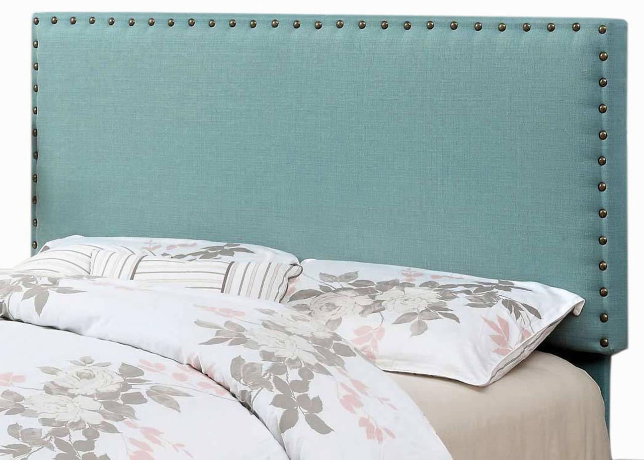 Abner Blue Full Queen Fabric Headboard Cb Furniture