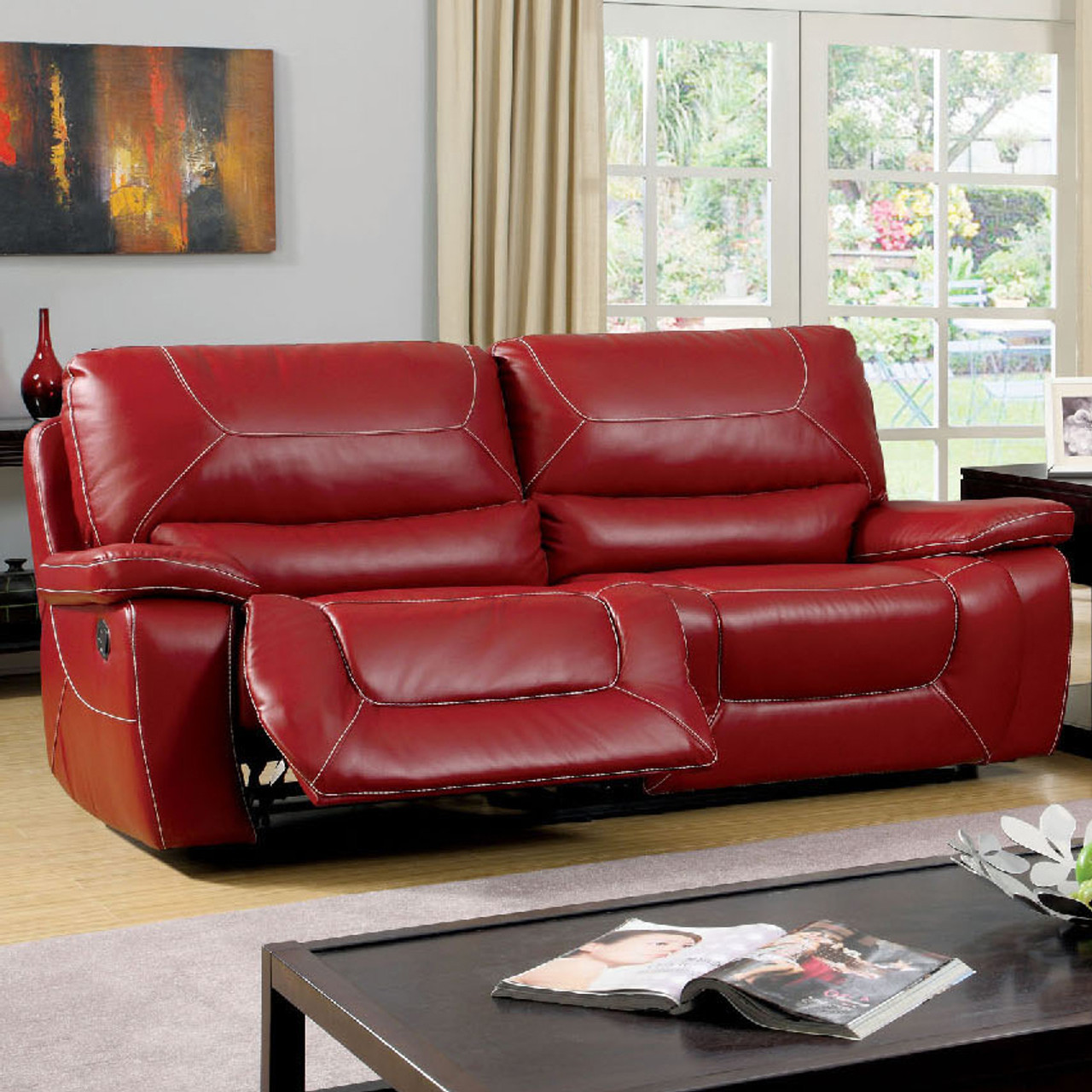 Helix Red Reclining Sofa