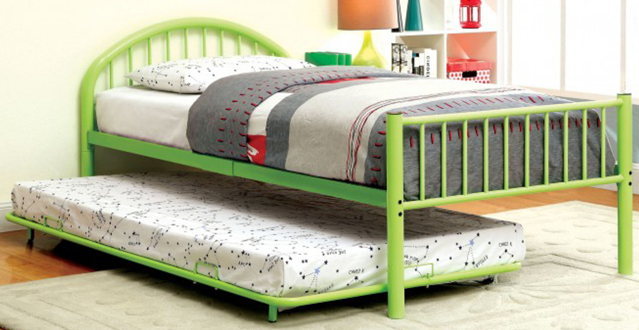 Riley Green Metal Bed W Trundle Cb Furniture