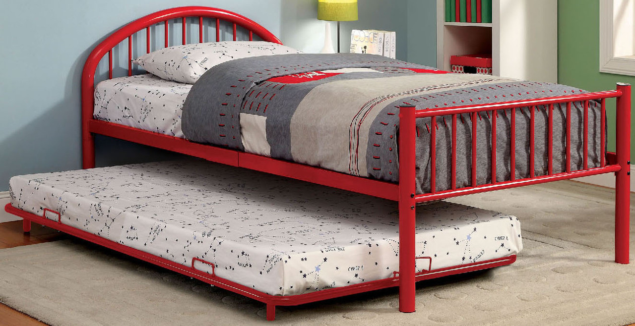 Riley Red Metal Bed W Trundle Cb Furniture